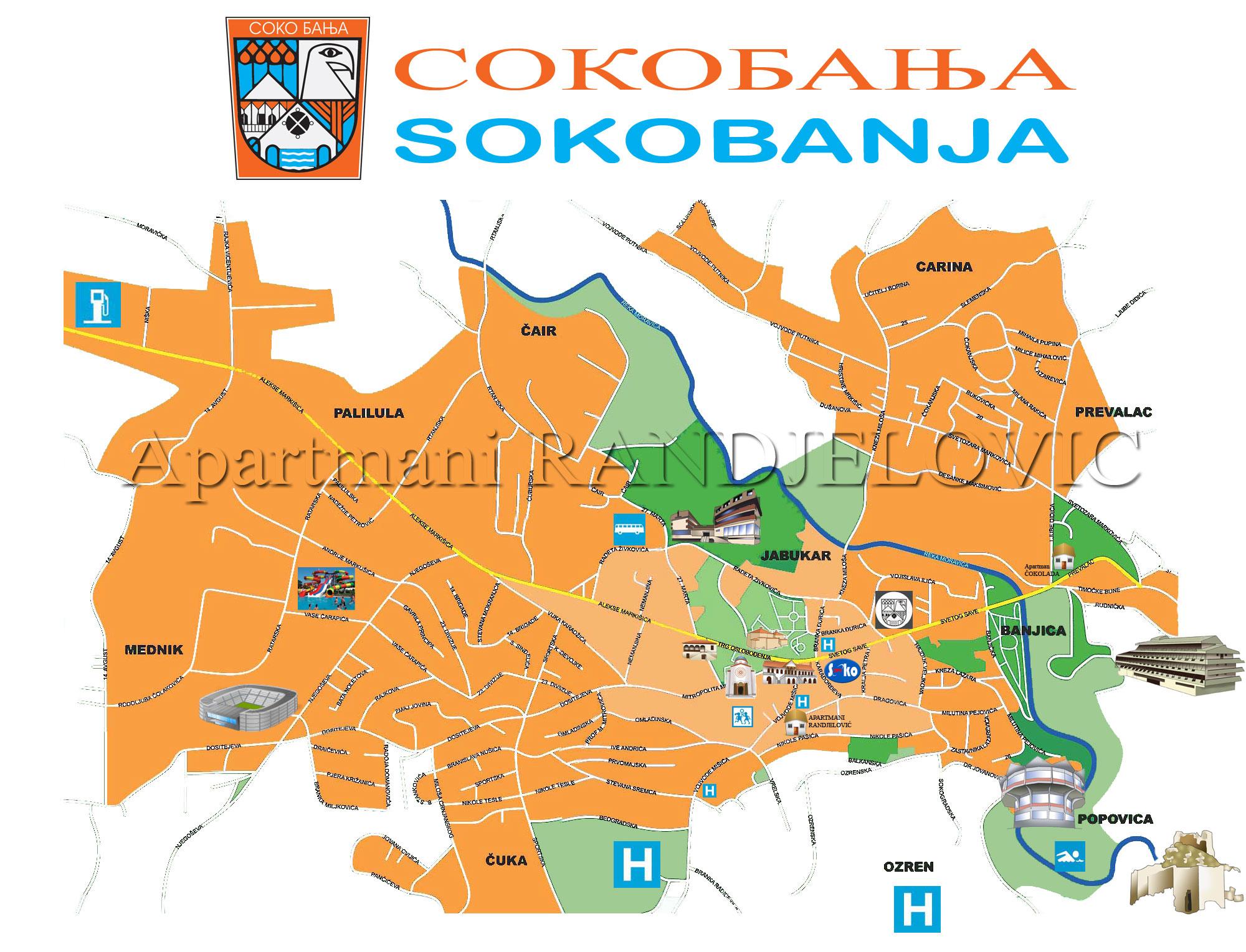 mapa sokobanje sa ulicama Sokobanja apartmani Randjelović privatni smeštaj u Sokobanji mapa sokobanje sa ulicama